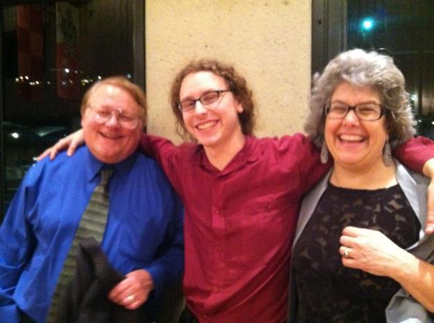 Dylan Mattingly flanked by his dad George and mom Lucy at the premiere of Invisible Skyline (photo by Sarah Cahill)