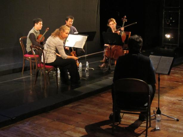 Lembit Beecher (foreground) in rehearsal with the Del Sol Quartet (photo by the Del Sol Quartet)
