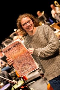 Dylan Mattingly with the Invisible Skyline score (photo by the Berkeley Symphony)