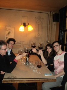 Tabby and colleagues raising a toast in Budapest, photograph courtesy of Jane Hattatt