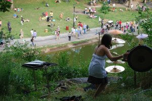 Garapic in a performance of John Luther Adams's Inuksuit in Morningside Park in NYC