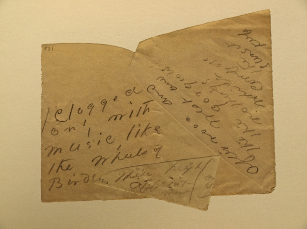 Dickinson Envelope-Poem 821 and 821A (Clogged/only with/music, like/the Wheels of/Birds . . .)