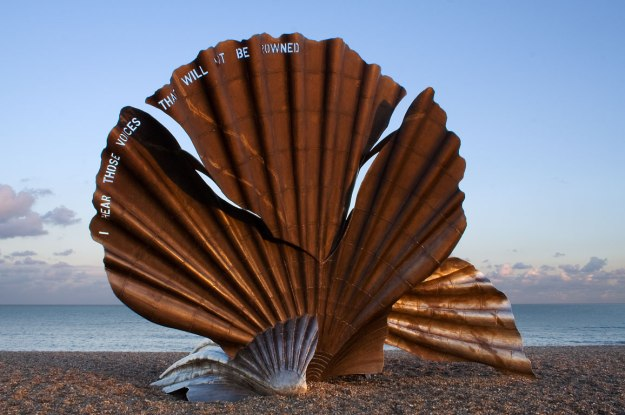 "Maggi Hambling's Scallop, Aldeburgh, with the lines from Peter Grimes, ""I hear those voices that will not be drowned."""