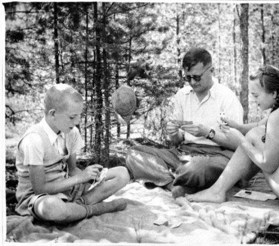 Shostakovich Playing Cards With His Children, 1940's