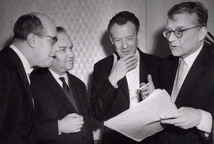 Mstislav Rostropovich, David Oistrakh, Benjamin Britten, and Shostakovich, 1960