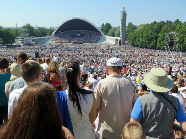 View of 26th Estonian Song Celebration from where I stood (lower right in hat and vest) (Photograph by J. Holford)