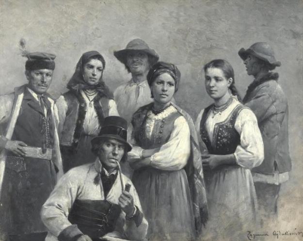Zygmunt Ajdukiewicz, Krakow and Goral folk costumes in Lesser Poland (1898, public domain via Wikimedia Commons)