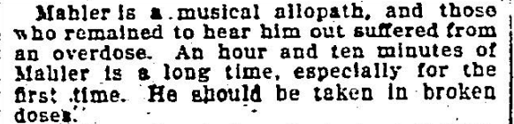 Mahler V Journal Review Excerpt 3-23-1907