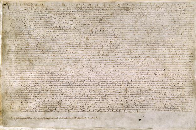 One of four surviving copies of the 1215 Magna Carta. This copy is one of two held at the British Library. It came from the collection of Sir Robert Cotton, who died in 1631. In 1731, a fire at Ashburnam House in Westminster, where his library was then housed, destroyed or damaged many of the rare manuscripts, which is why this copy is burnt.