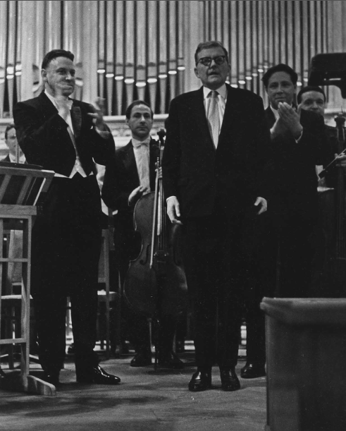 Shostakovich after the première of the Fourth Symphony at the Moscow Conservatory
