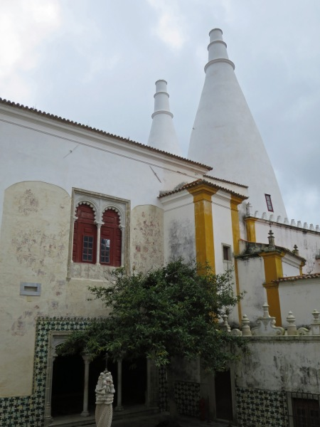 National Palace of Sintra, wall with original 16th C fresco painting & chimneys