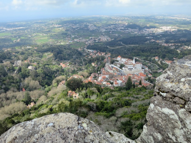 National Palace of Sintra and surrounding town from Castelo dos Mouros